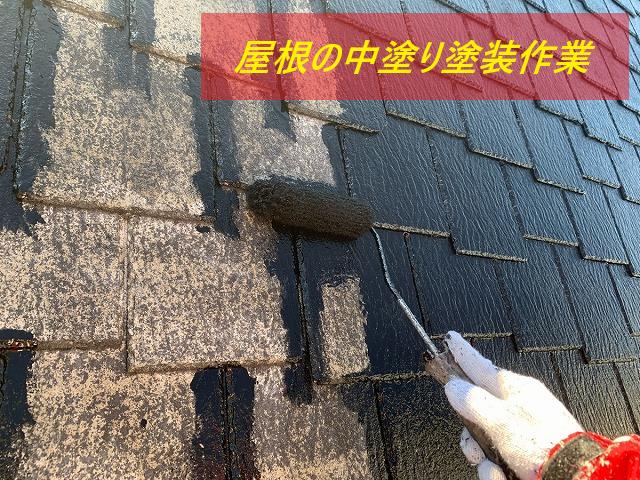 屋根塗装 中塗り作業
