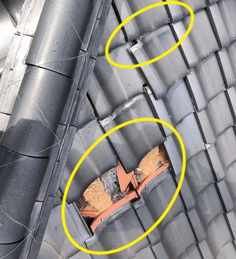瓦屋根の破損