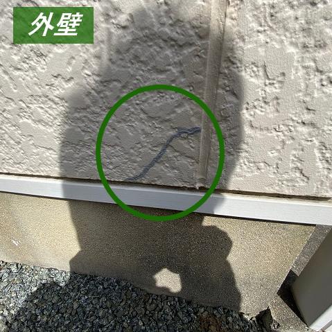 外壁の補修跡