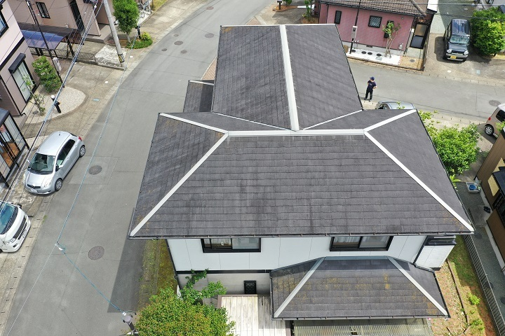 屋根の空撮の様子
